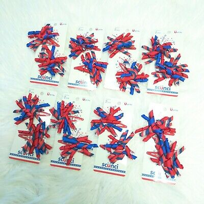 8 Pairs New SCUNCI Girls Red Blue 4th of July Spiral Ribbons Hair Accessories