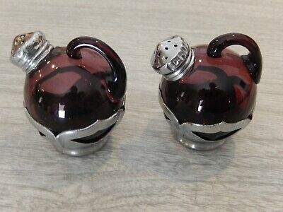 Farber Brothers Amethyst Salt and Pepper Shaker Set Farber Crystal (Chrome) 1924