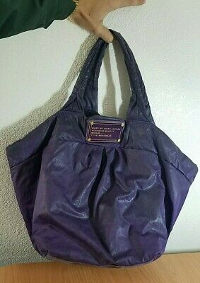 bbcbf096c5b Marc by Marc Jacobs Workwear Bag Purple Nylon Handbag Purse Tote Gold  Hardware!