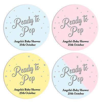 48 x BABY SHOWER PERSONALISED STICKERS LABELS PARTY FAVOURS SILVER BLUE PINK