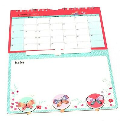 1x 2019 New Hanging Wall Mini Memo Calendar Family Organiser With Pen and Pegs B