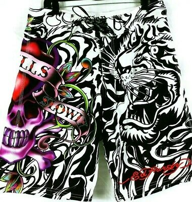 8d9b29e7a8 ED HARDY Mens Swim Board Shorts Love Kills Slowly Tiger Size 33 Pray For  Surf