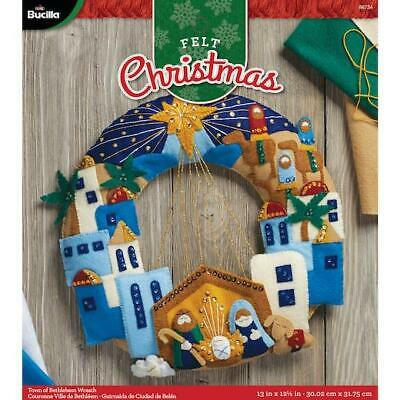 "Bucilla 12"" Felt Christmas Wreath Kit - Town of Bethlehem"