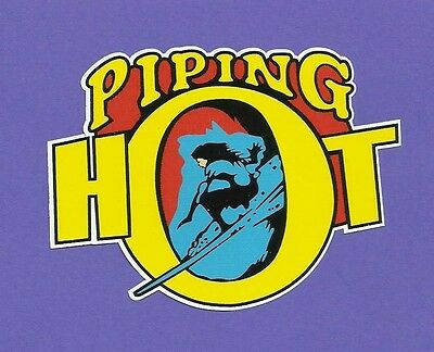 """PIPING HOT"" SURFBOARDS 1970's Manufacturer Sticker Decal LONGBOARD Surfing"