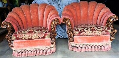 Matching Pair (2) of Antique Clamshell Victorian Era Parlor /  Pub chairs