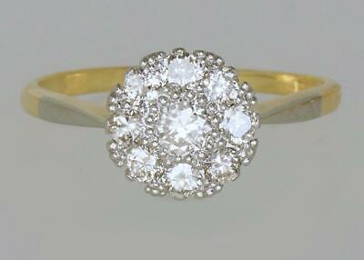 Edwardian 18ct Gold & Plat 0.65ct Diamond Cluster Ring Vintage 1920's Daisy Ring