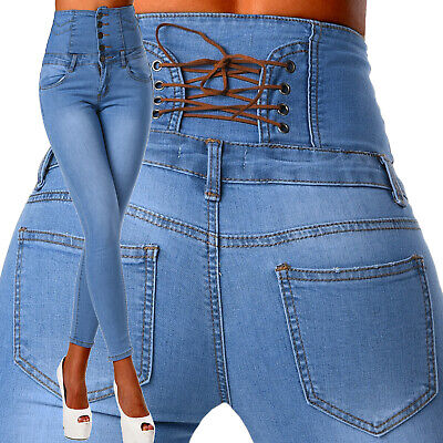 Sexy Women's Stretchy Jeans Blue Trousers Corset Skinny Slim High Waisted K 992