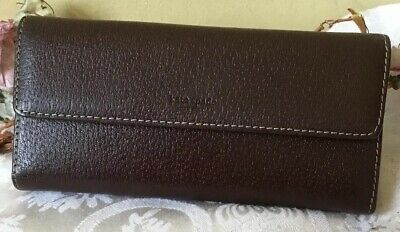 11f5be427f Vintage Kate Spade Dark Brown Textured Leather Trifold Wallet Check Holder