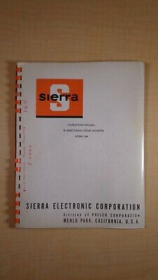 Sierra Philco Bi-Directional Power Monitor Model 164 Manual 7E B3