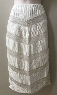 fa7d80706692 NWOT Free People Ivory Lace Pin Tuck Silky Pencil Skirt Slit Sexy Size Small