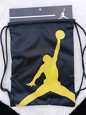 c60b100c7b Nike Air Jordan Jumpman Drawstring Gym Sack Bag Backpack Black Yellow  9A1940 693