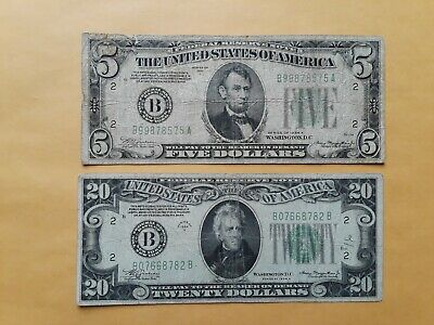 LOT of 4 1934 $5 & $20 DOLLAR BILL FEDERAL RESERVE NOTE NEW YORK & CHICAGO, IL