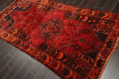 "4'2"" x 8'7"" Vintage Hand Knotted Vegetable Dyes Wool Herizz Oriental Area Rug"