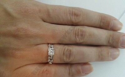 14k White Gold Over jewelry for Women 2ct white Round engagement ring solid gift