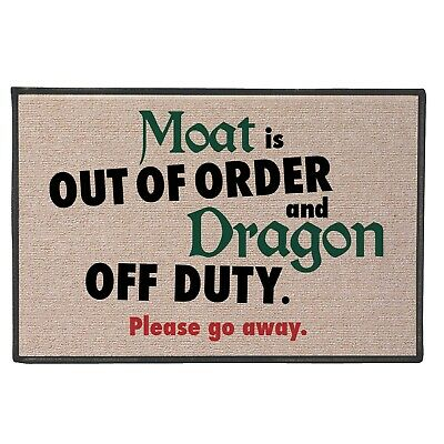 What on Earth Moat Is Out Of Order, Dragon Off Duty Doormat - Fun Welcome Mat