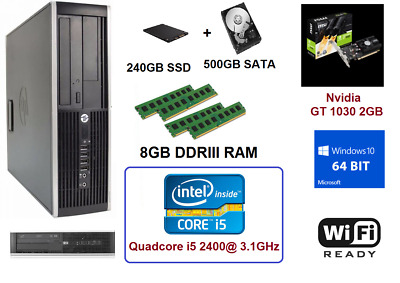 HP QC i5-2400 3.1Ghz 8GB RAM 240GB SSD Win10 Wifi Desktop NVIDIA GT1030 2GB HDMI