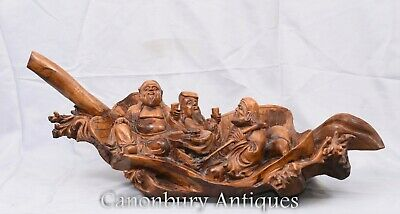 Carved Chinese Wise Men Statue Circa 1900 - Hardwood Boat Figurine
