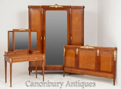 French Bedroom Suite Ash and Walnut - Armoire Dresser Wardrobe