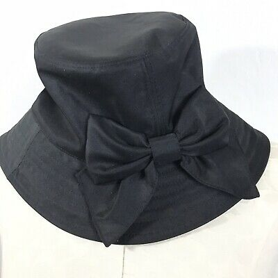 366d001b KATE SPADE HATS Off Solid Black Bucket Hat With Bow Women's One Size ...