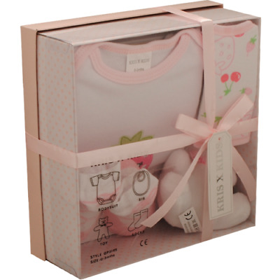 4 Piece 0/3 Month New Baby Girl Pink  Strawberry Gift Box Set Baby Shower