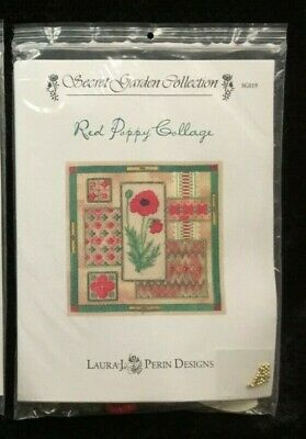 Laura J. Perin Designs Secret Garden Collection Charted Needlepoint/Red Poppy