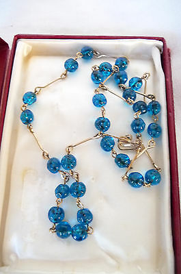 Vintage Art Deco Style Sapphire Blue Beaded Necklace Metal Threaded