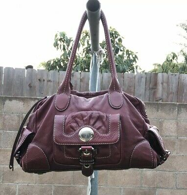 0c217a25197 MARC BY MARC JACOBS Vntg Classic Q Burgundy/ Red Leather Shoulder Tote Purse  Bag