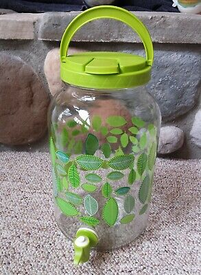 Glass Herbal Iced Tea Leaf Jar Lidded Handle Nozzle Dispenser Jug 2L Holistic MD