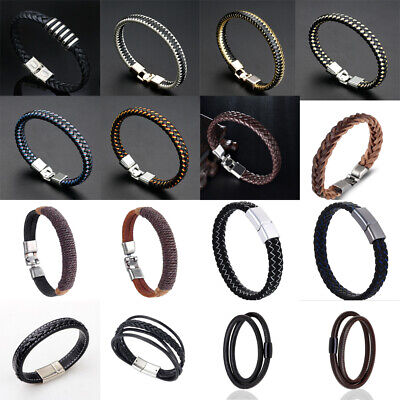Unisex Women Men Braided Leather Steel Magnetic Clasp Bracelet Handmade Jewelry