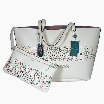 099e29d743 RALPH LAUREN LASER Cut Perforated Chantilly II Classic Tote Bag   Clutch •  White -  158.90