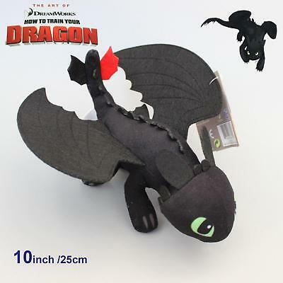 "10"" How To Train Your Dragon TOOTHLESS Night Fury Plush Toy Soft Doll Kids Gift"