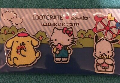 9389f4b8c Loot Crate Sanrio Embroidered Pin Set Hello Kitty, Pompompurn, And  Pochacco, G3
