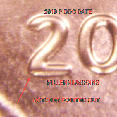 2019 P Shield Penny Error / Doubled Die / Notched / From Roll / Lqqk