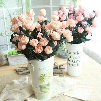 Artifical Rose Silk Flower Floral Leaves Bouquet Bridal Wedding Party Home Decor