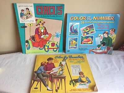 Vintage Mixed Book Lot Of (3) 1960's Paint By Number And Color Number Books