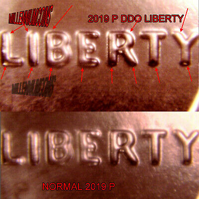 2019 P SHIELD Penny Error Ddo / Liberty / Sale / From Roll
