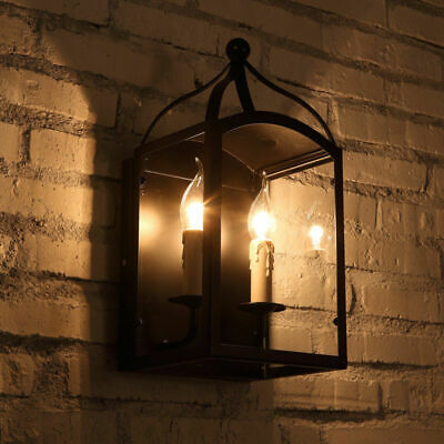 Antique 2-Light Black Metal Wall Lantern Interior Candle Style Wall Lamp Sconce