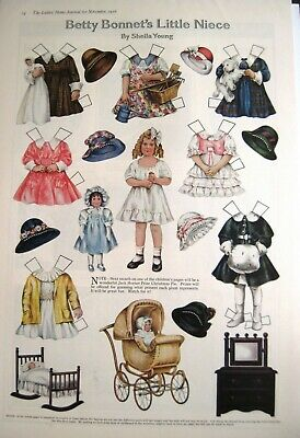 "1916 Paper Dolls by Sheila Young ""Betty Bonnet's Little Niece"" - Uncut"