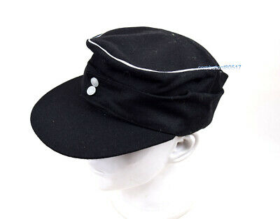 363dae414c7de3 Replica WW2 German Wool Officer M43 WH EM field Panzer Cap Hat BLACK size  59 cm