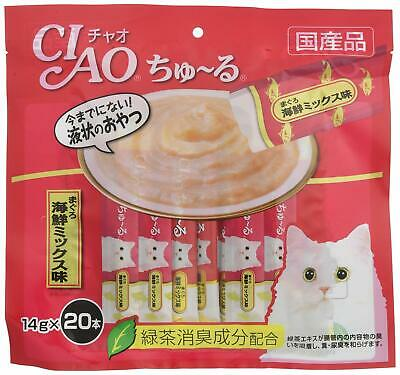 INABA CIAO Catfood Churu Cat Lick Snacks Fillet Tuna seafood mix 14g x 20p Japan