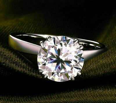 Certified Engagement Ring 3Ct Diamond D Solitaire 14k White Gold Round Cut