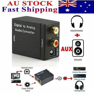 AUX Optical Coaxial Digital to Analog Audio Converter Adapter RCA Toslink Cable