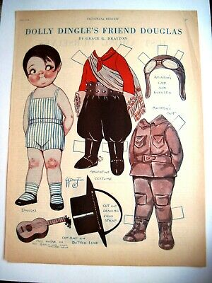 "1928 Paper Dolls By Grace G.Drayton "" Dolly Dingle's Freund Douglas "" - Uncut"