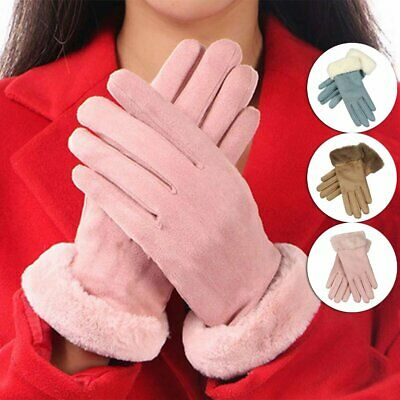 Women Ladies Girl Touch Screen Suede Winter Thermal Warm Gloves Driving Skiing