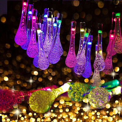 30 LED Raindrop Teardrop Solar Power String Fairy Lights Yard Garden Xmas Party