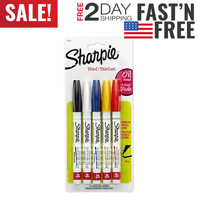 Sharpie 37371PP Oil-Based Paint Markers, Fine Point, Assorted Colors, 1 Blister