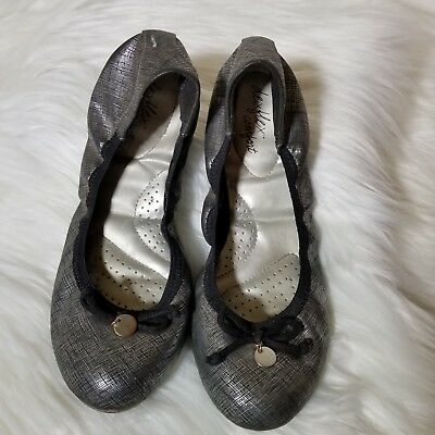 dd68c6729917 Dex Flex Comfort Ballet Flats Slip On Walking Shoes Womens Sz 7.5 M Gray  Black