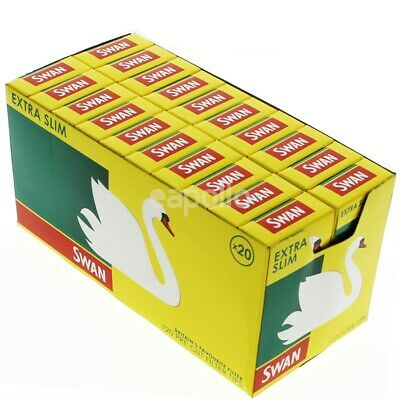 20 x SWAN EXTRA SLIM CIGARETTE PRE CUT ROLLING FILTER TIPS FULL BOX SEALED