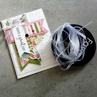White Sheer Ribbon With Silver Metallic Edge 3.5Mm X 50Mtr Roll Christmas Cards