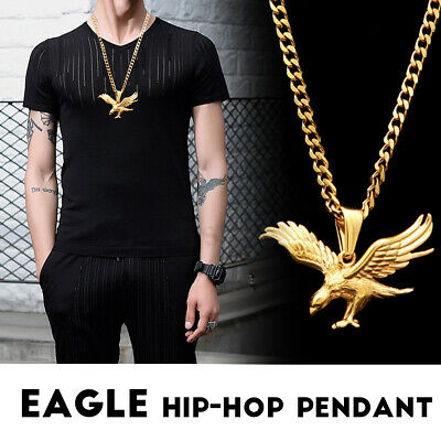 e4d55e637d9 Men Fashion Gold Plated Eagle Hip Hop Chain Pendant Shiny Iced Out Necklace  New
